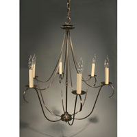Signature 6 Light 25 inch Dark Antique Brass Chandelier Ceiling Light in No Crystals